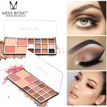 Brand MISS ROSE 12 Color Eyeshadow Disc 2 Blush Powder Pearly Matte Palette 16 Colors Makeup Set