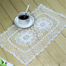 Placemats Disc Cup Mat 100% Cotton Hollow Out Square Rectangle Table Cloth Manual