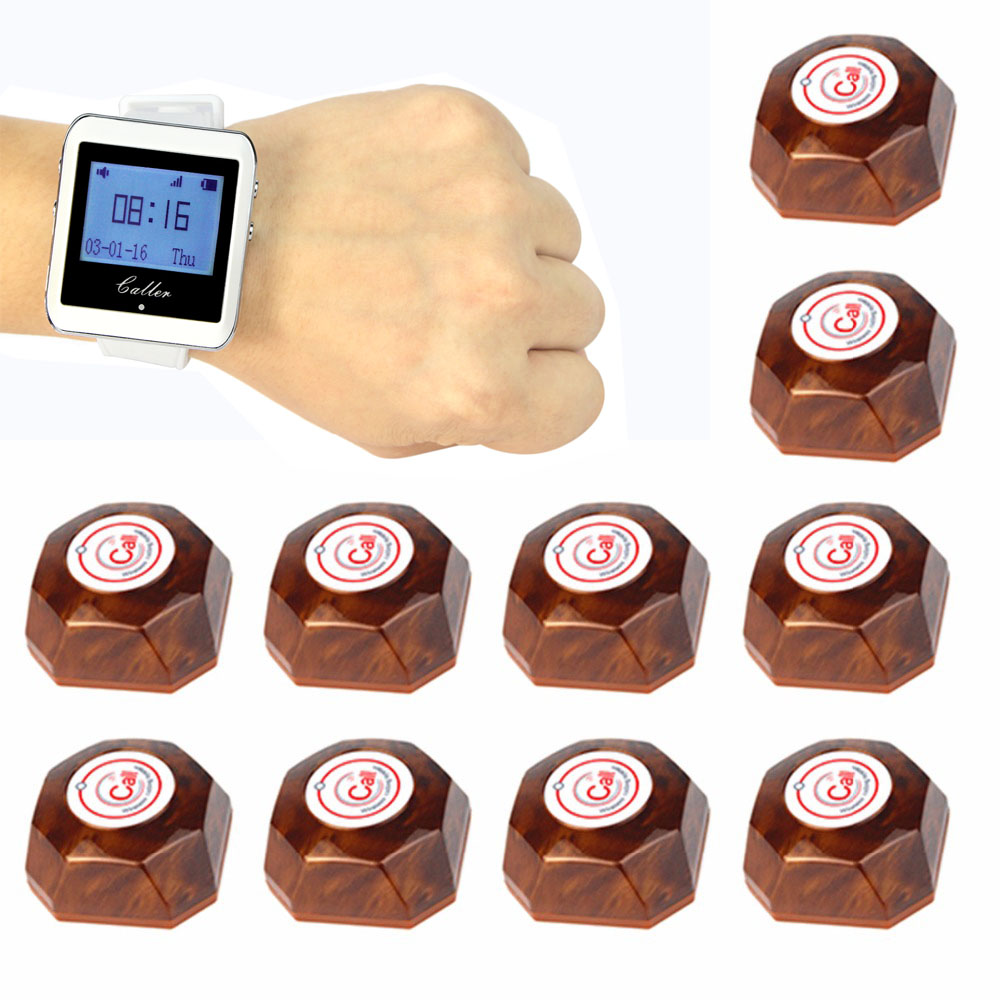 TIVDIO Wireless Calling System 1 Watch Receiver+10 Call Button Pager Restaurant Equipment For Fast Food Cafe Hospital F3288B tivdio 10pcs wireless call button transmitter pager bell waiter calling for restaurant market mall paging waiting system f3286f