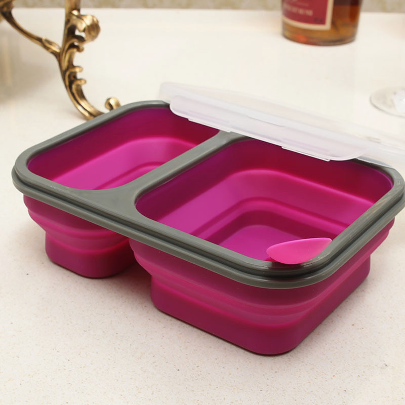 2 Cells Silicone Collapsible Portable Lunch Box 900ml Microwave Oven Bowl Folding Food Storage Lunch Container Lunchbox