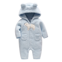 Newborn Baby Romper Spring Costume Baby Boys Clothes Coral Fleece Warm Baby Girls Clothing Animal Overall