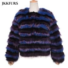 2019 New Striped Fox Fur Coat Women's Genuine Natural Fur Winter Thick Warm Real Fur Jacket High Quality Mixed Color S7492