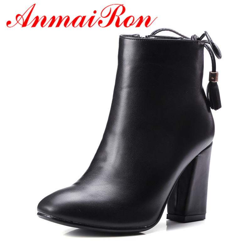 ANMAIRON Big Size 34-43 Winter Ankle Boots for Women High Heels Sexy Shoes Zip Lace-Up Woman Charms Round Toe Boots Square Toe enmayla ankle boots for women low heels autumn and winter boots shoes woman large size 34 43 round toe motorcycle boots