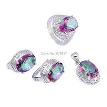 Venta al por mayor romántica de la CZ místico del arco iris Cubic Zirconia S 925 sterling silver Jewelry set ( anillo / pendiente / colgante ) S-3713set #6 7 8 9