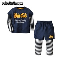 blue Boys Sweatshirts Sets Long Sleeve lovely stripe T Shirt + Pants Outfit Kids Clothes Boy Sport Suit Children Baby Clothing