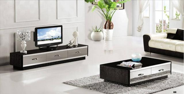 French Style Furniture Coffee Table Tv Cabinet 2 Piece Set Modern Design Gray Mirror Furniture