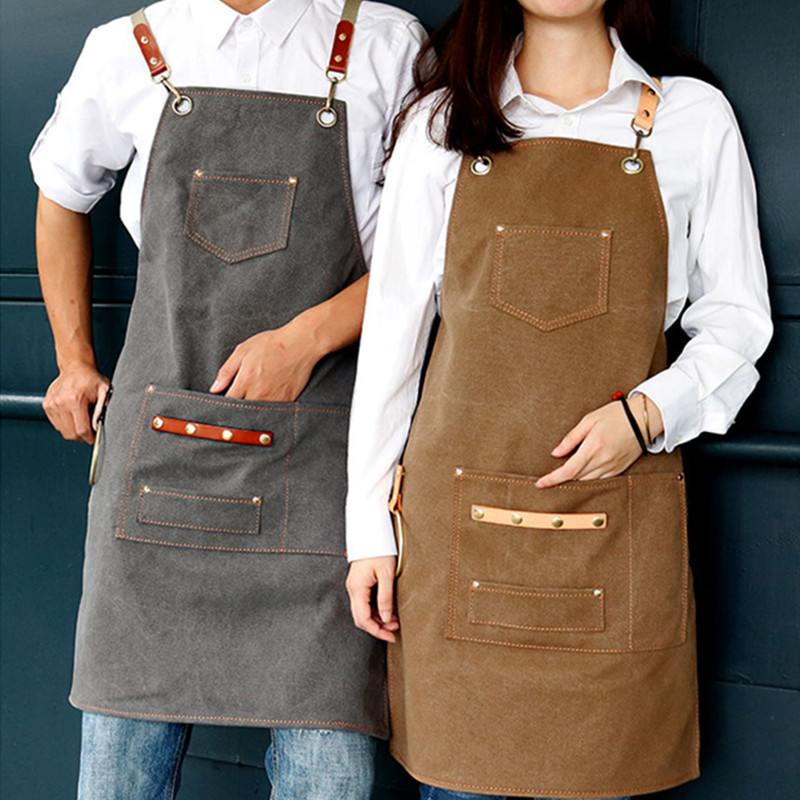 Khaki Gray Canvas Apron Cotton Straps Barber Hairdresser Florist Gardener Work Wear Barista Bartender Chef Waitstaff
