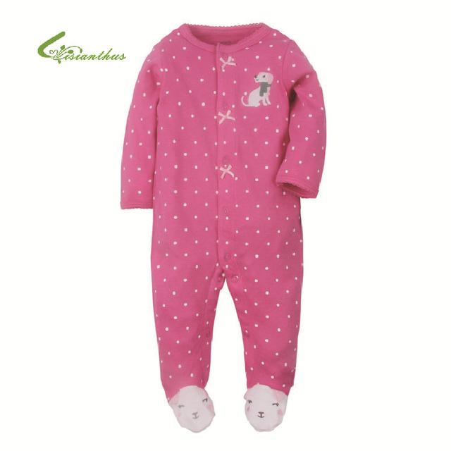 2016 Ropa de Bebé Pijamas Del Bebé Recién Nacido Mamelucos Infantiles Mono de La Manga Larga de algodón Niños Ropa de Los Bebés Del Otoño Del Resorte de La Muchacha Desgaste