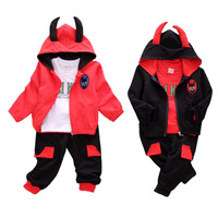 New 3 PCS Baby Hooded Cartoon Long Sleeved Shirt Set Children S Warm Suit Baby Infant