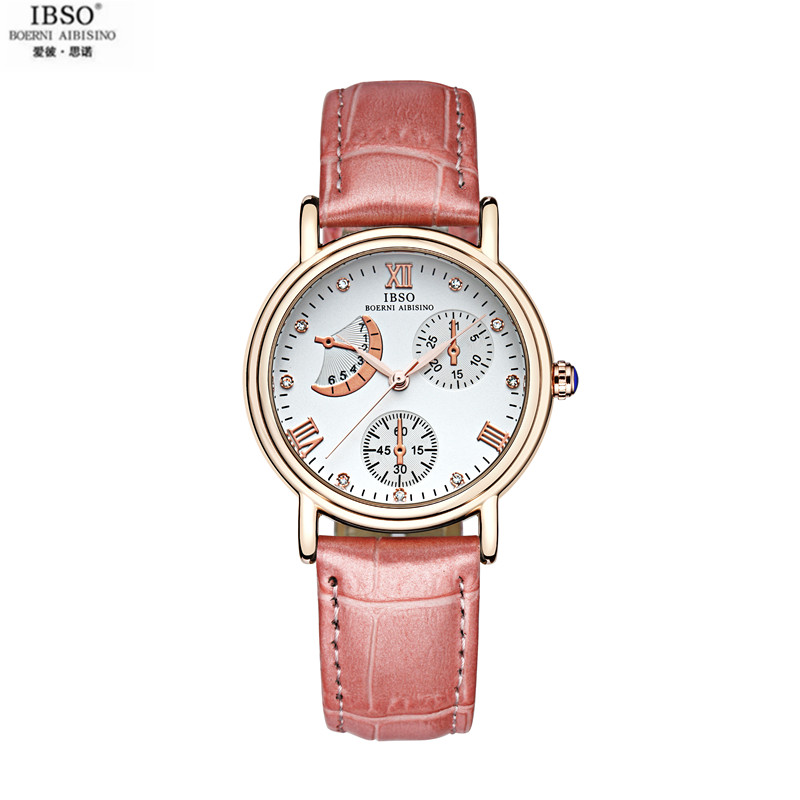 IBSO Lady Leather Waterproof Quartz Watch The Small Dial Diamond Fashion Watches Business And Leisure Belt Wrist Watch For Lover