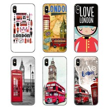 For iPod Touch iPhone 4 4S 5 5S 5C SE 6 6S 7 8 X XR XS Plus MAX Transparent Soft Shell Covers London big ben Bus(China)