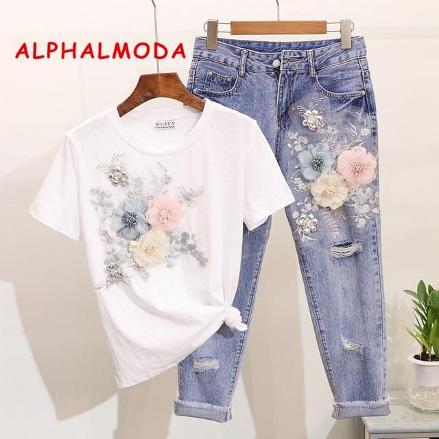 ALPHALMODA 3D Flower Applique Fashion Tshirt Slim Denim Pants Women Heavy-work Fine Quality Clothing for Summer Trendy Apparel