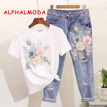 ALPHALMODA 3D Flower Applique Fashion Tshirt Slim Denim Pants Women Heavy-work Fine Quality Clothing for Summer Trendy Apparel - DISCOUNT ITEM  25% OFF All Category