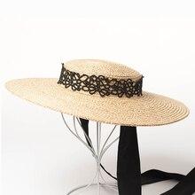 Eropa dan Amerika Retro Modis Tali Straw Topi Wanita Musim Panas Lebar  Pinggiran Datar Matahari Pantai Topi dengan Renda Pita e69711ddfb