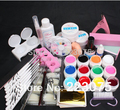 NEW Pro 12 Color UV Gel 8 Zebra Brush Nail Tips Nail Art Tool Kits Sets