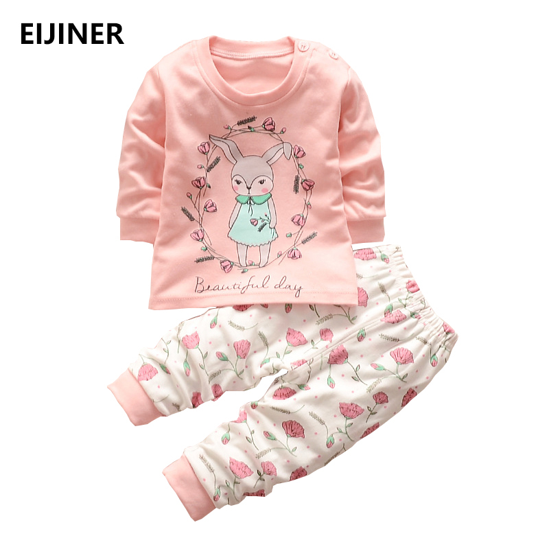купить 2018 New baby clothing set baby girls clothes long sleeve t-shirt + pants 2pcs suit cotton baby girl newborn clothing set онлайн