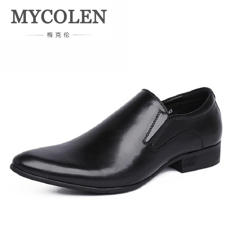 MYCOLEN 2018 Men Dress Shoes Brand Pointed Toe Business Classic Gentleman Business Shoes Men Leather Brown Loafer Mocassin Homme портмоне mano business 19008 19008 brown