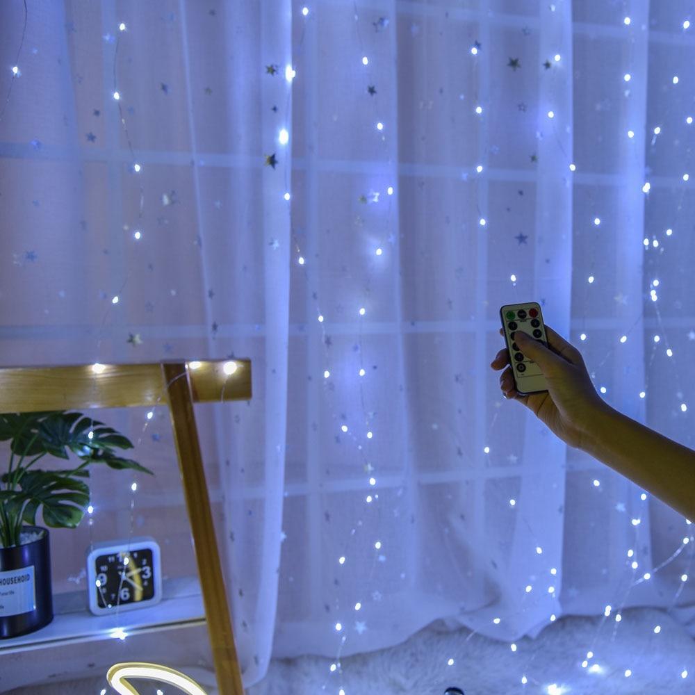 Control remoto ventana cortina luces de alambre de cobre Alambre de 3x3 m 300 LED Luz de Navidad decoraciones de fiesta de boda USB inalámbrico alimentado