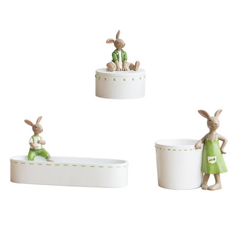 Mini Rabbit Garden Ornament Cute Miniature Figurine Plant Pot Fairy Synthetic Resin Hand-painted Animal Decor