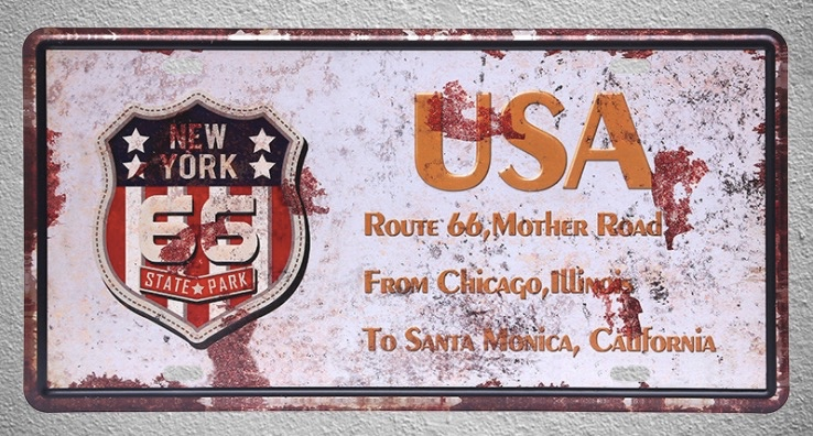 1 pc New York Route 66 Chicago Illinois California plaques Tin Plates Signs wall man cav ...