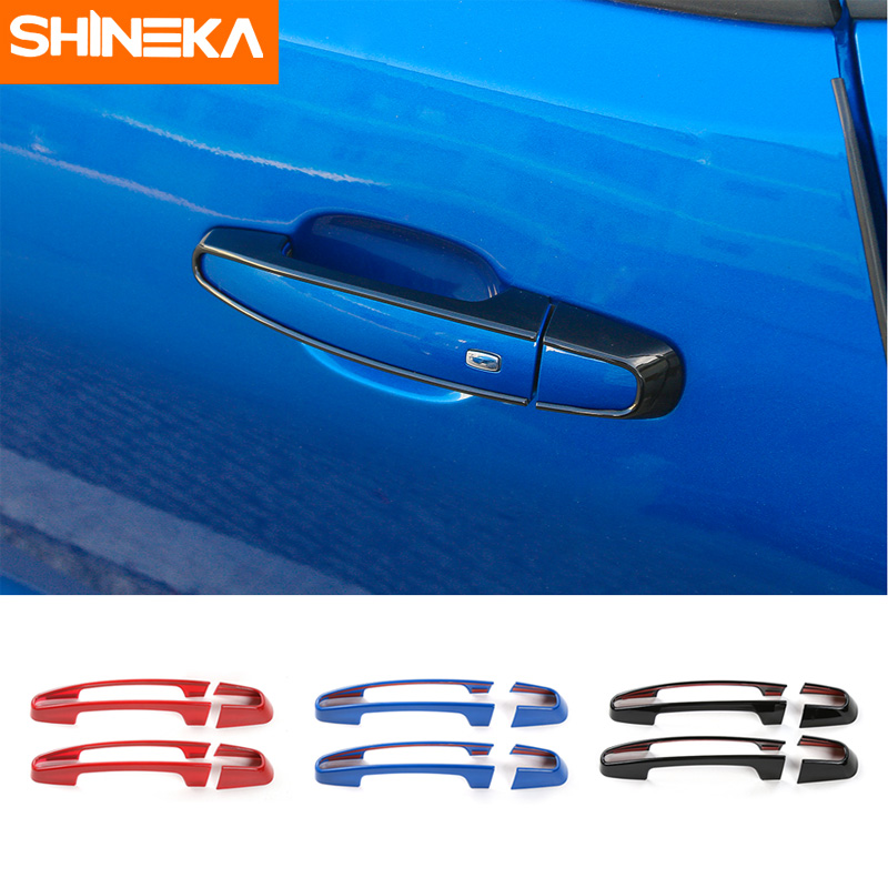 SHINEKA ABS Car Styling Door Handle Cover Sticker Trim for Chevy Camaro 2017+ xyivyg 02 08 for dodge ram chrome 1500 2500 3500 hd mirror 4 door handle tailgate abs cover