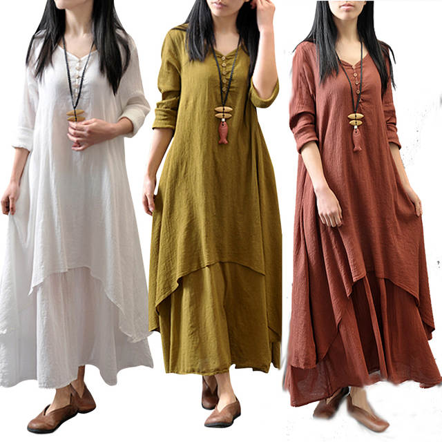 db9d74603cf Online Shop M -5XL Plus Size Fashion Women s Peasant Ethnic Boho Loose  Cotton Linen Long Sleeve Maxi Robe Dress Gypsy Blouse Shirt Dresses
