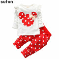 2017 New Spring Autumn Baby Girls Clothing Sets Cartoon Cotton Bow Tops Shirt +Leggings Pants 2Pcs Lovely Children Clothes Suit