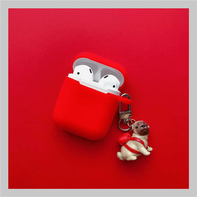 Cute Dog Wireless Bluetooth Earphone Case For Apple AirPods Silicone Charging Headphones Cases With Keyring