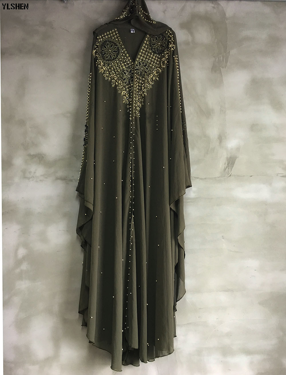 Plus Size African Dresses for Women Dashiki Diamond Beads African Clothes Abaya Dubai Robe Evening Long Muslim Dress Hooded Cape 23