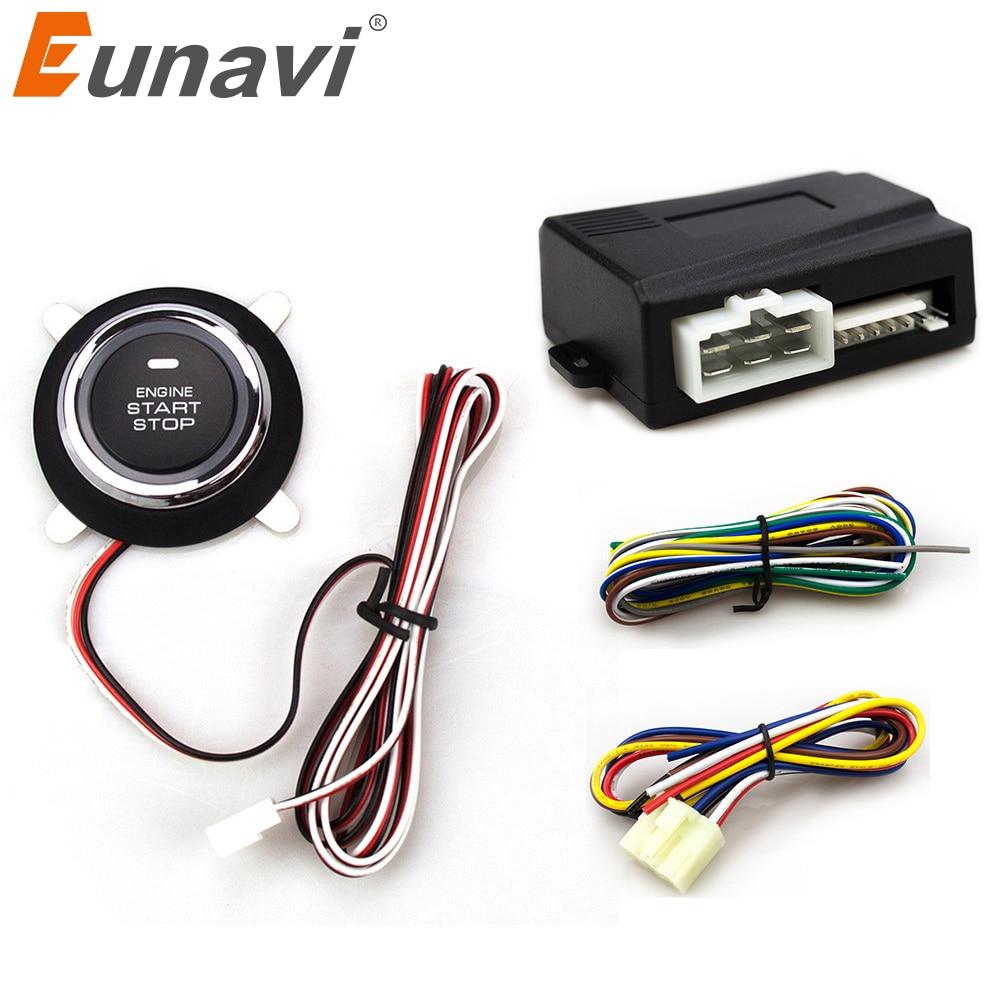 2018 Sonderangebot Zeitlich begrenzte Eunavi Auto Alarm Mit Druckstarttaste Und Transponder Wegfahrsperre Motorstopp