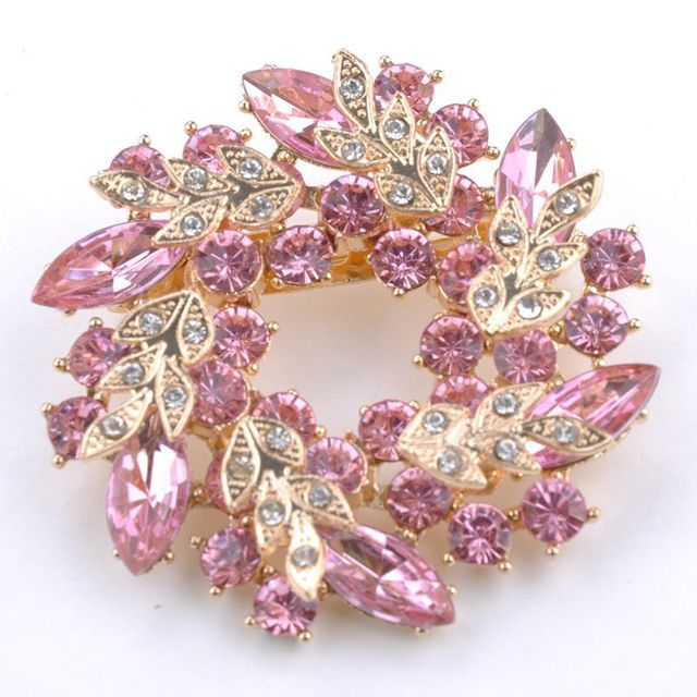 1 Pcs Bling Bling Crystal Rhinestone Golden Chinese Redbud Flower Brooch Pins Je