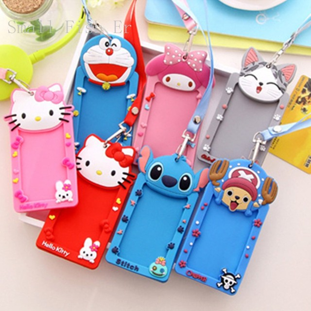 10pcslot cute business card case hello kitty minions lanyard id 10pcslot cute business card case hello kitty minions lanyard id cards holder bus card reheart Images