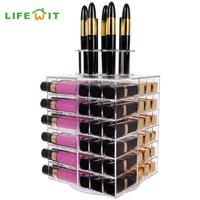 Lifewit Makeup Organizer 81 Slot Spinning Lipstick Tower Premium Acrylic Rotating Lipgloss Holder Vitreous Cosmetic Storage