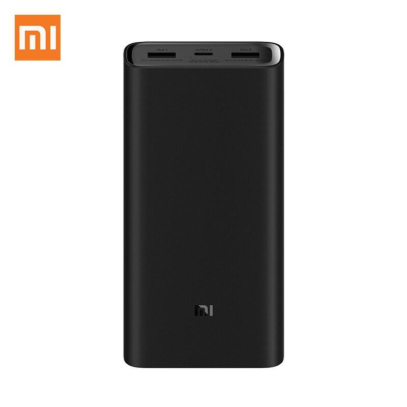 Originale batterie externe de xiaomi 3 20000 mAh Chargeur Portable Alimentation Double USB USB-C bidirectionnelle Rapide Charge mi Batterie Externe