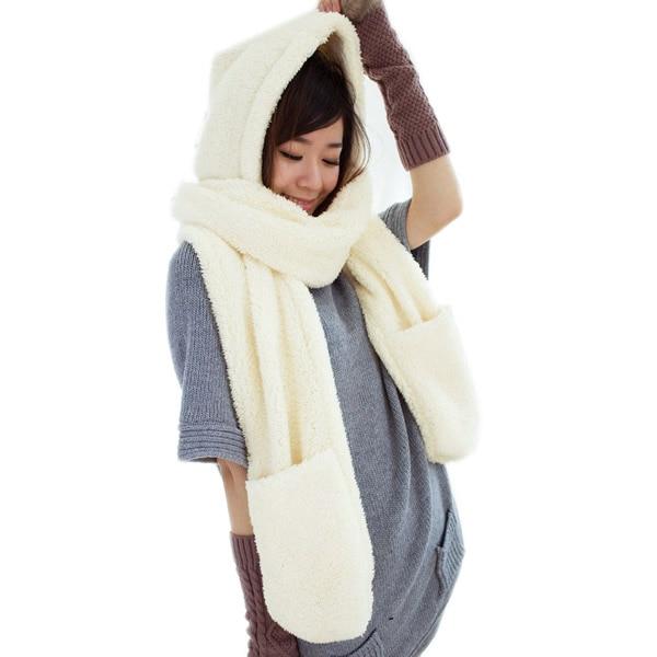 2017 New Fashion Winter Warm Women Hoodie Gloves Pocket Earflap Hat Long Scarf Shawl Snood Wraps Sets Winter Scarves For Women