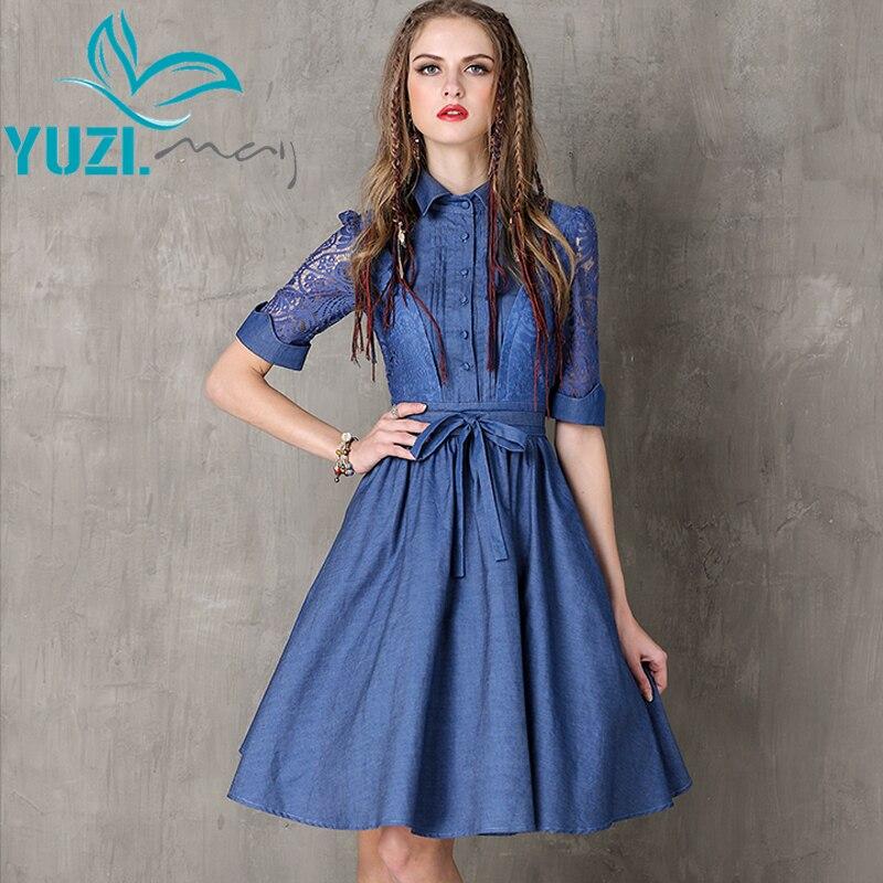 Women Summer Style Dress 2017 Denim Dresses Vintage Turn down Collar Patchwork Belt A line Vestido
