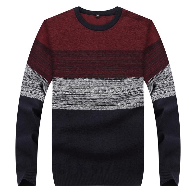 10XL 9XL 8XL 6XL Autumn Fashion Brand Casual font b Sweater b font O Neck Striped
