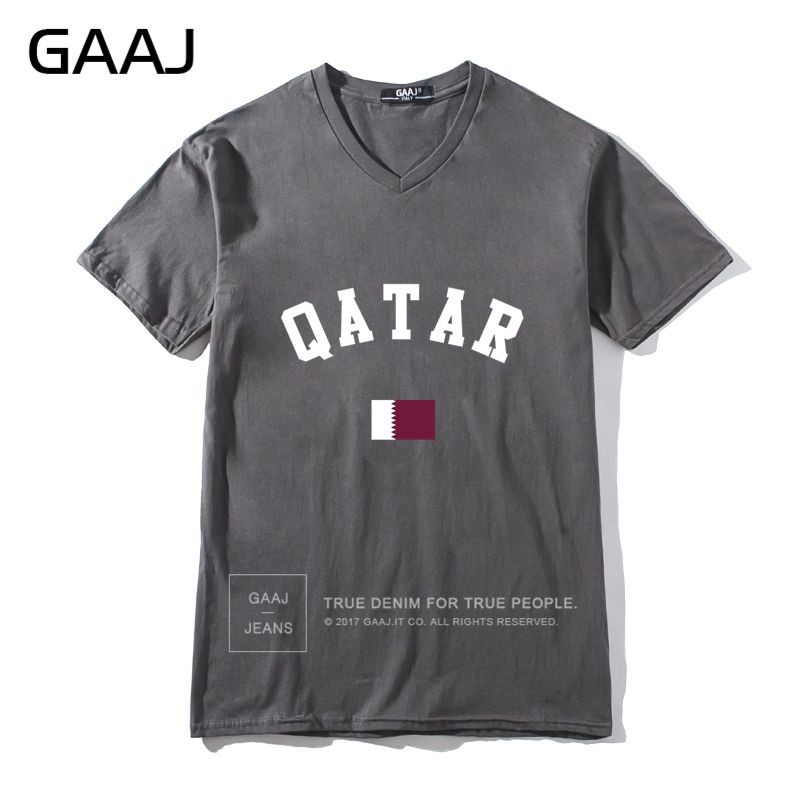Diy Men V Neck Short Sleeve T shirt Qatar Flag Men T Shirts Ladies Cotton T-shirt Charcoal - intl
