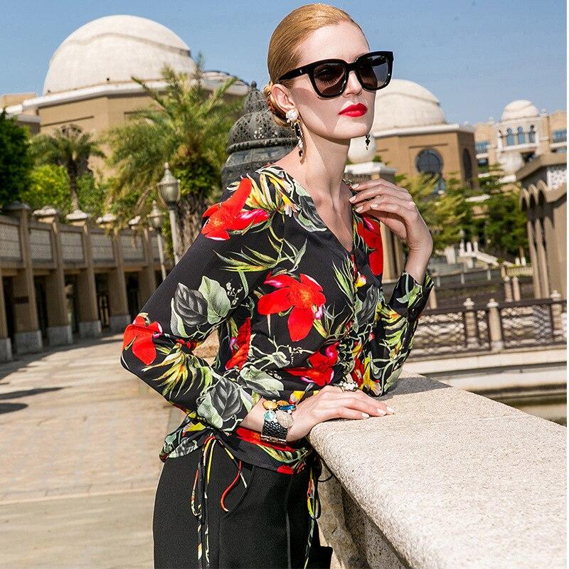 Soie imprimé à manches longues col en v pullovers blouse 2018 nouvelle piste de haute qualité bureau dame femmes chemises d'été