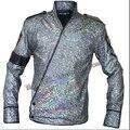 Мужчины певица сцена одежда MJ майкл джексон куртки бухарест ночной клуб костюмы лазер цвет куртка