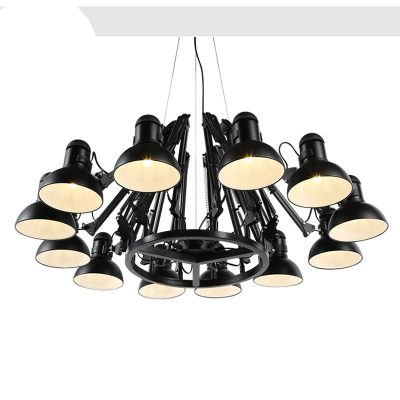 American creative personality retro spider chandelier retractable iron office clothing store cafe living room restaurant led