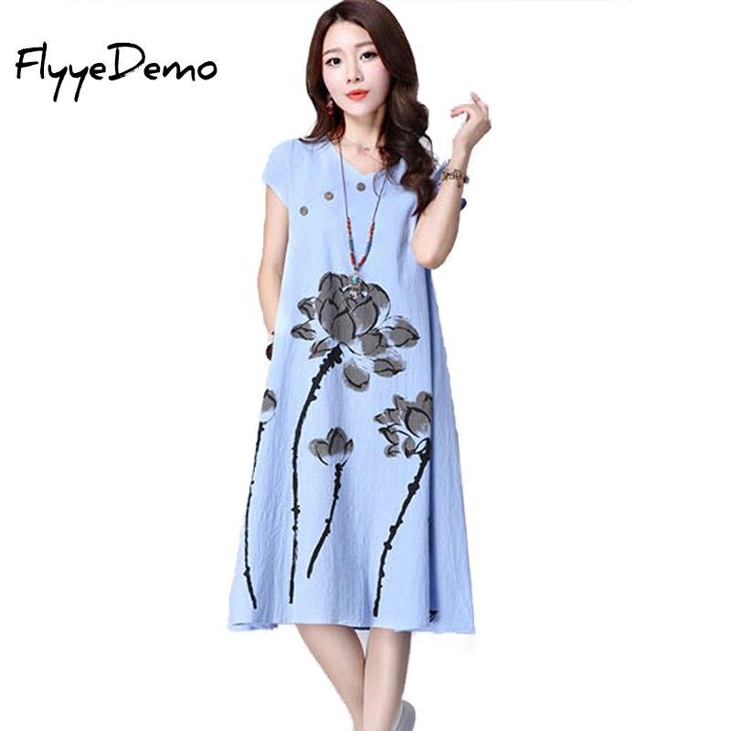 Fashion China Style Dress Women Short Sleeve Summer ...