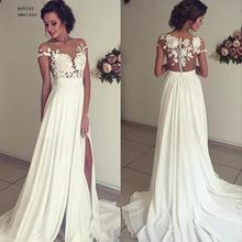 Beach Vestido De Noiva 2020 Wedding Dresses A line Cap Sleeves Chiffon Lace Slit Dubai Arabic Boho Wedding Gown Bridal Dresses