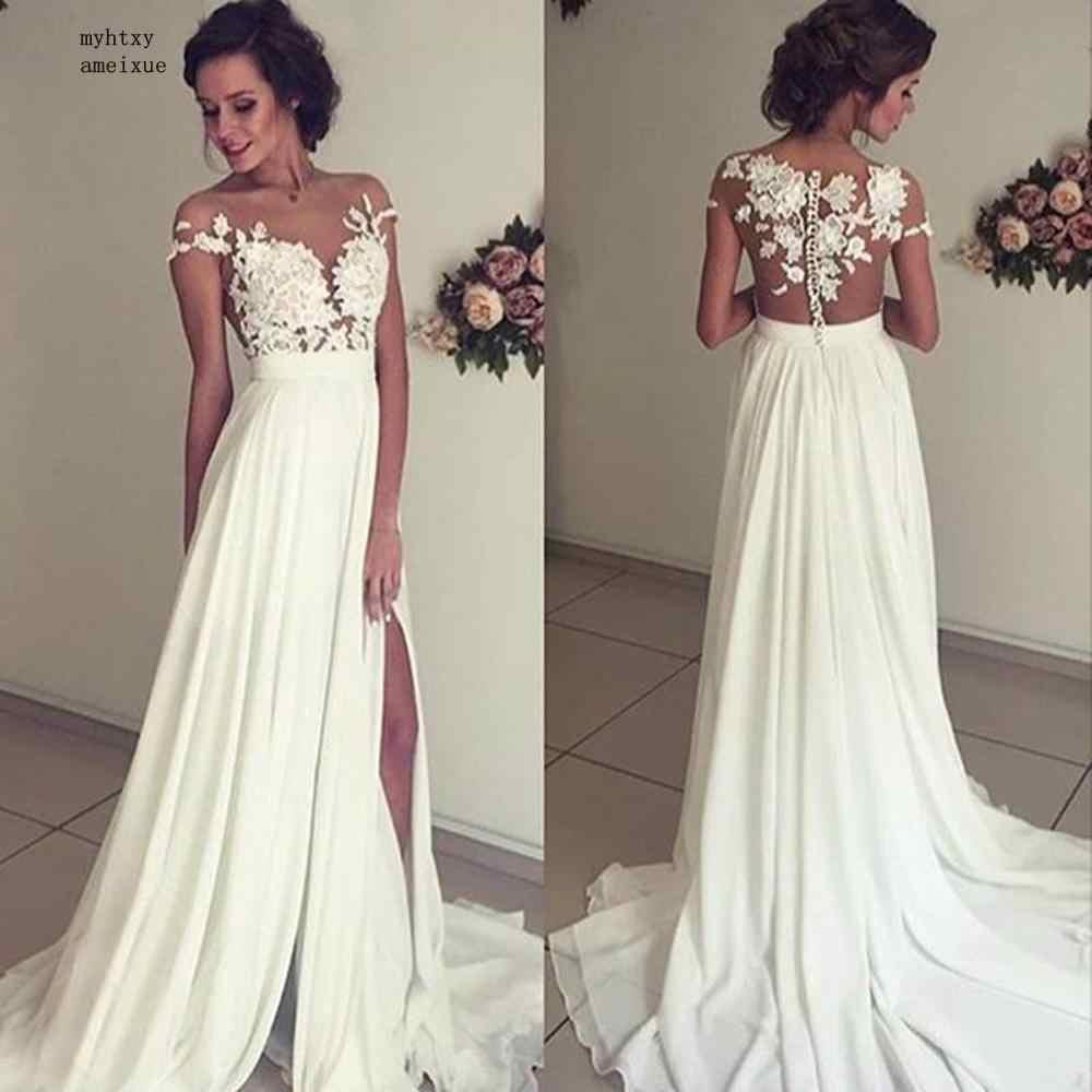 Plage Vestido De Noiva 2019 robes De mariée a-ligne Cap manches en mousseline De soie dentelle fente dubaï arabe Boho robe De mariée robes De mariée