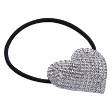 5PCS Silver Plated Heart Rhinestone Elastic Band Hair Tie Ponytail Holder (China) 3917e0446d90