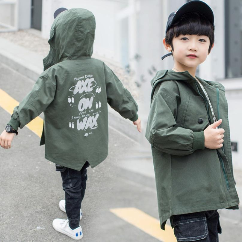 Boys Printing Hooded Windbreaker Jacket 2019 Autumn New Children cotton   Trench   Coat Outerwear modis Kids Hooded Jacket Y1657