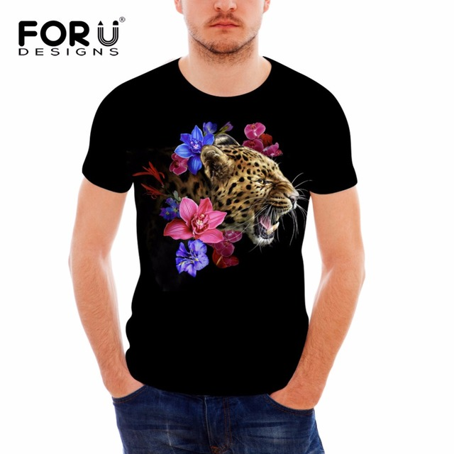 7d3a1cac FORUDESIGNS Men's Cool Black T Shirt 3D Tiger Floral Print T-shirt For Male  Summer