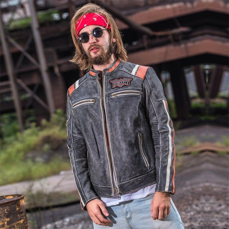 Motorrad Stehkragen Jacke Stickerei Vollrindleder Schwarzes Mans Vintage Motorradfahrer Leder grau Reiter Rindsleder Hfw5Xx4xq