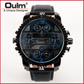Oulm 3233 Leather Band 4 Time Zones Quartz Watch Military Watches with Double Movt Round Dial Famous Brand Men Analog Wristwatch