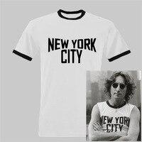 John Lennon thành phố new york Ringer Đen và Màu Trắng T Áo Sơ Mi THE BEATLES john lennon Tee euro kích thước-XXXL